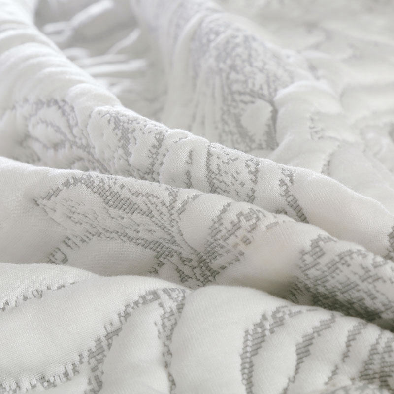 White Luxury European High Quality Comfortable Soft Knitted Cotton Thick Blanket Ruffle Bedspread Bed sheet Linen Pillowcases in Bedspread from Home Garden