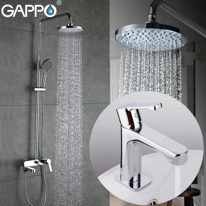 GAPPO basin faucet bathroom bathtub faucet Rainfall Bath tub taps chrome Water mixer wall shower mixer tap Sanitary Ware Suite polished chrome double cross handles wall mounted bathroom clawfoot bathtub tub faucet mixer tap w hand shower atf902