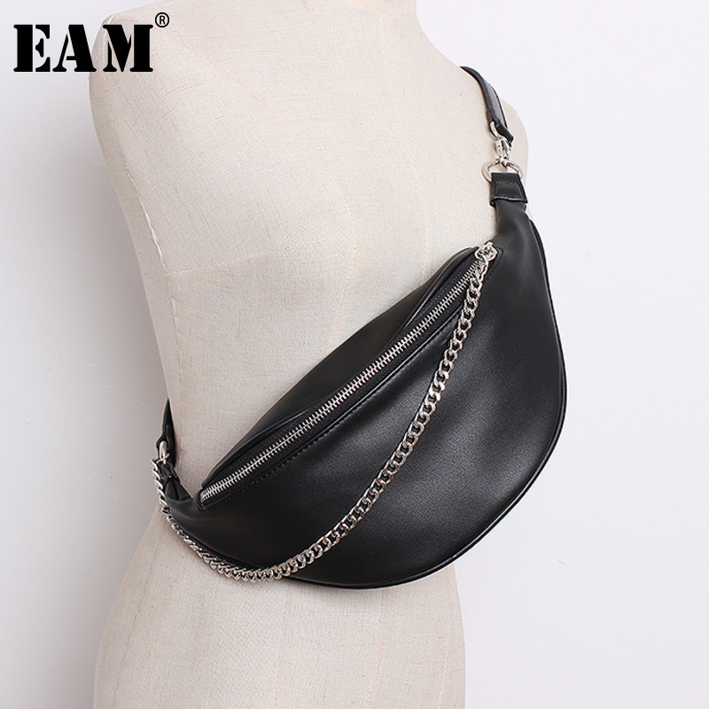 [EAM]2020 Four Season General Purpose Vintage Unisex Solid Black Color Zippers PU Single Strap Chains Waist Bag Belt LD0412