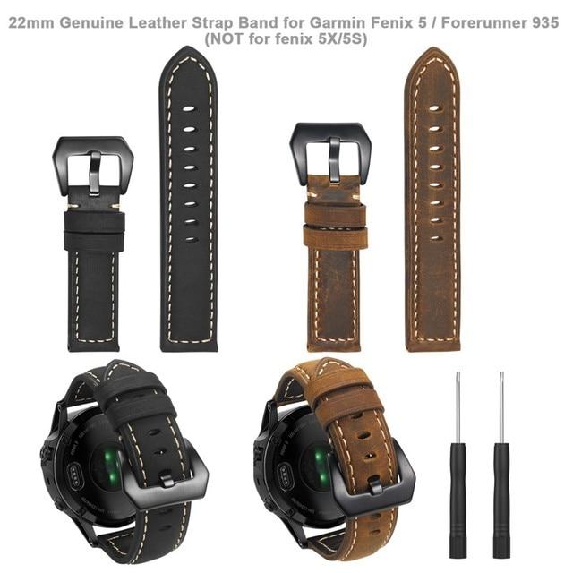 22 مللي متر حزام جلد طبيعي ساعة ذكية المعصم الفرقة حزام ل Garmin Fenix 5/Fenix 5 Plus/Forerunner 935/Quatix 5 (لا تناسب سريعة)