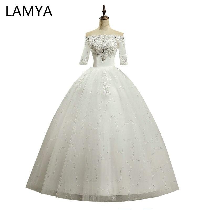 LAMYA Prinzessin Halb Vintage Boot-ausschnitt Hochzeit Kleid 2018 ...