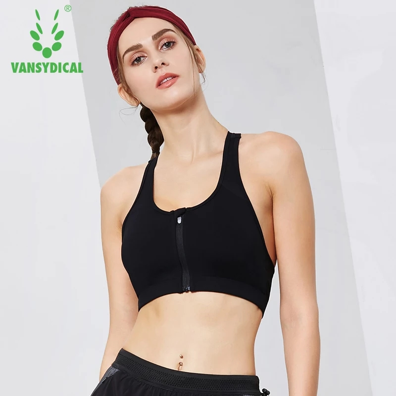 5d75111ded5b6 Vansydical 2018 Front Zipper Gym Sports Yoga Bras women s Racerback  Seamless Wireless Underwear Fitness Workout Underwear Tops