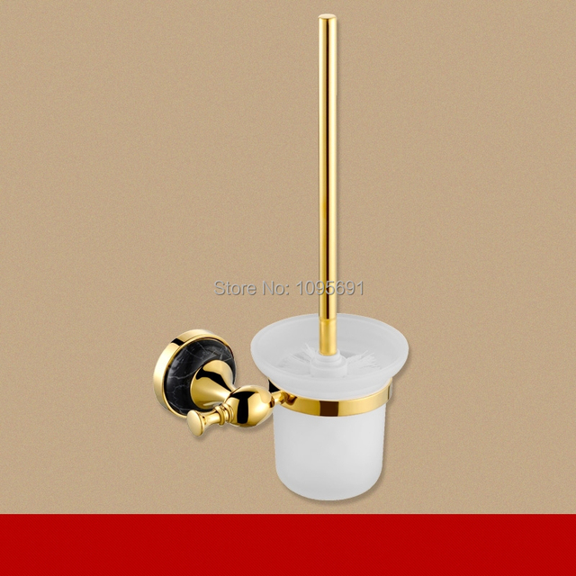 MAIDEER luxury Brass Base +marble + Frosted Glass Cup Toilet Brush ...