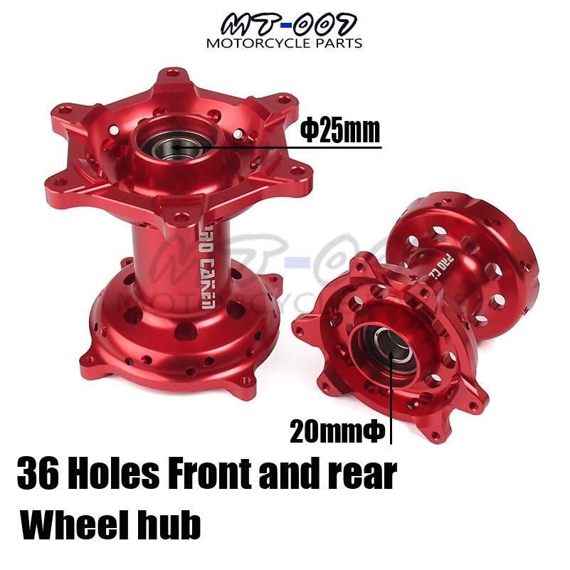 CNC Red Full Set Front Rear Wheel Hub 36 Holes For HONDA CR125/250 2002 2007 CRF 250 CRF450R/X 2002 2012