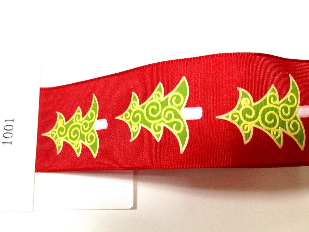 N1001 38mm X 25yards Christmas Tree on Wired Edge Red Taffeta Ribbon. Gift Bow,Wedding,Cake Wrap,Tree Decoration,Wreath