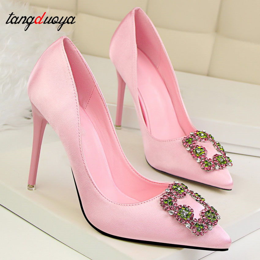 black light Mariage pink Chaussures Carré Sapatos Green Pompes Strass Hauts black Femmes dark Dames Boucle Mulher Green Green Cristal Red Talons De gray ccUWA6ZzS