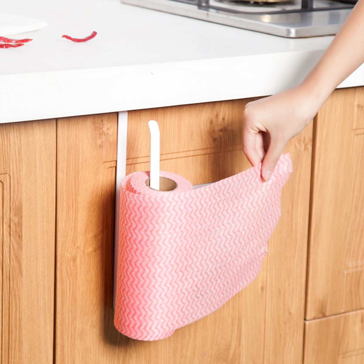 Kitchen hand towel holder - Roll Paper Holder Wall Mounted Kitchen Cupboard Towel Rack Toilet Bathroom Paper Holder Towel Rack Hand