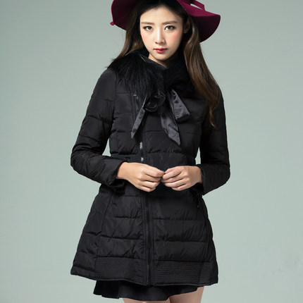 ФОТО New 2015 Women Fur Collar Long Sleeve Down Parkas Fashion Plus Size Winter Cotton Padded Coats Woman Slim Long Overcoats H4459