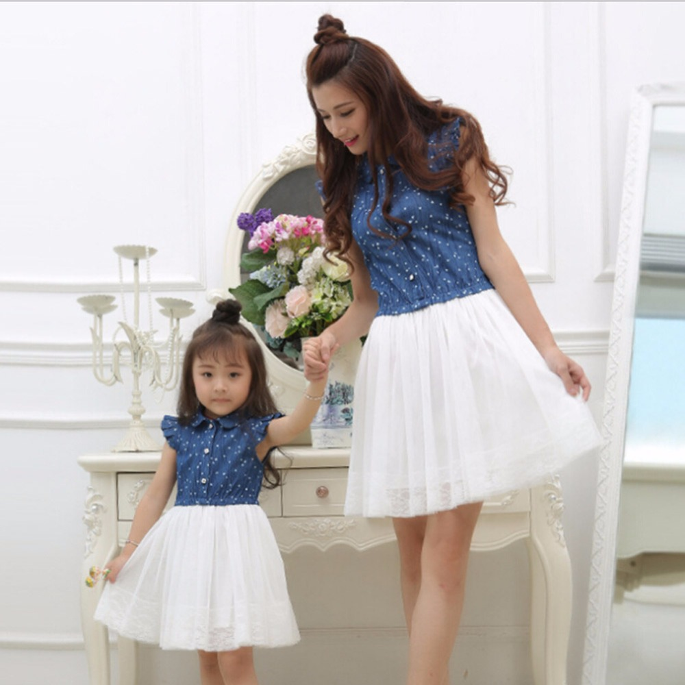 Mom and Daughter Dress Matching Clothes 2017 Blue White Dress for Kids and Women Summer Family Outfits Mother Daughter Dresses