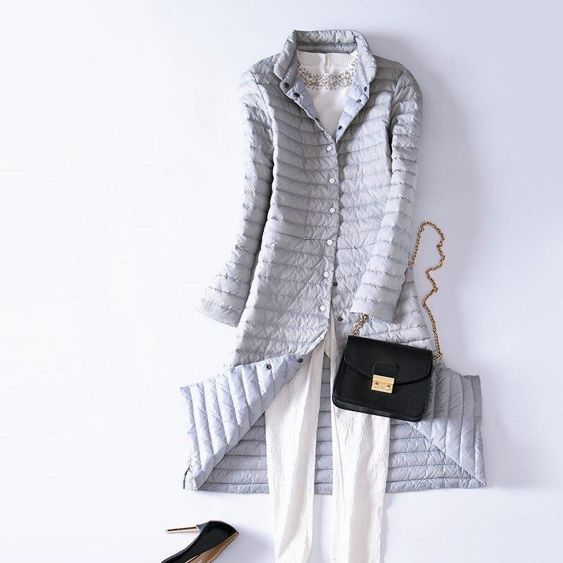 2018 automne hiver femmes vers le bas manteau mince Ultra léger canard vers le bas vestes Parka femme Long manteaux pour vêtements de dessus grande taille 2XL AB913