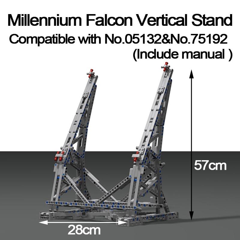 MOC Millennium Falcon Verticale Display Supporto Compatibile con N ° 05132 e No. 75192 Ultimate collector Modello con Carta Manuale