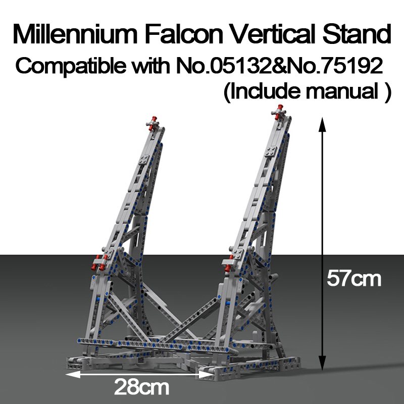 MOC Millennium Falcon Vertical Display Stand Compatible with No.05132 and No.75192 Ultimate Collector's Model with Paper Manual