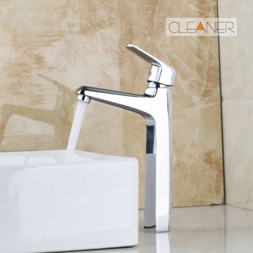 Tall Faucet Hot & Cold Water Mixer Polished Chrome With Stream Flow Bathroom Basin Faucet Single Handle Sink Water Mixer Tap цена и фото