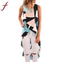 Women S Fashion Crop Top Geometric Asymmetrical Tank Top Sleeveless Blue Long T Shirt Cropped Feminino