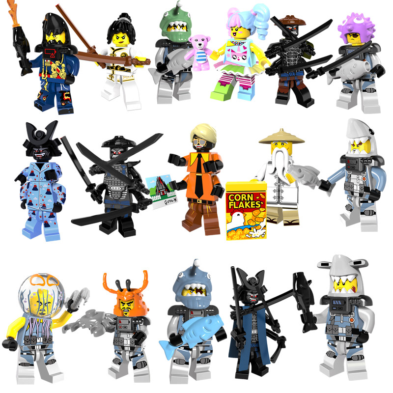 8pcs/set Ninja Go Movie Lord Garmadon Shark Jelly Puffer Octopus Building Blocks Figures Kids Toys Compatible With LegoINGly ...