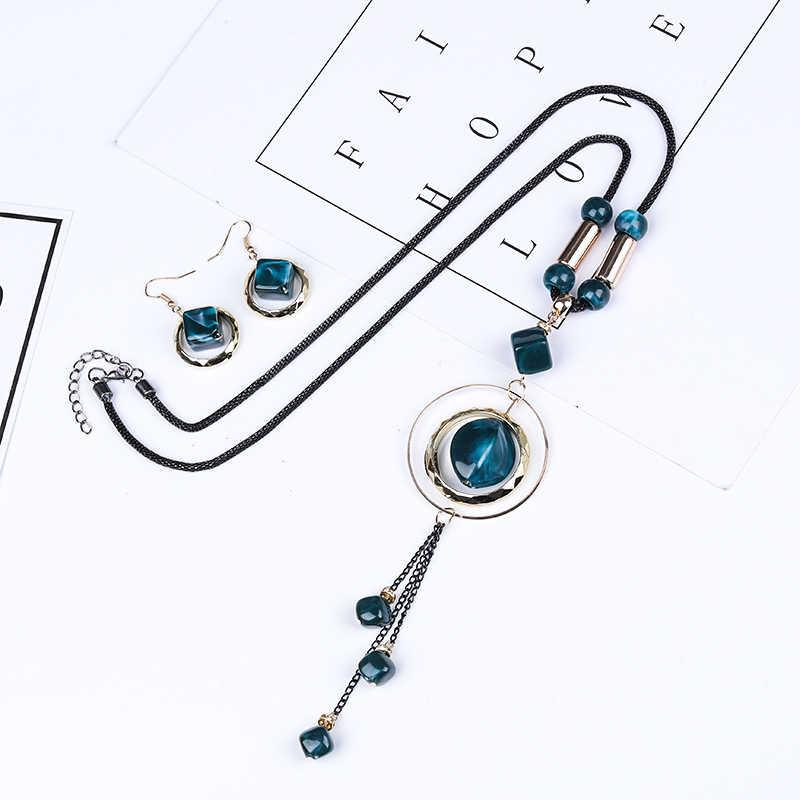 クレイジー風水高級 AcrylicWedding 女性赤青ロングラウンドタッセルペンダントネックレスドロップピアスセットギフト