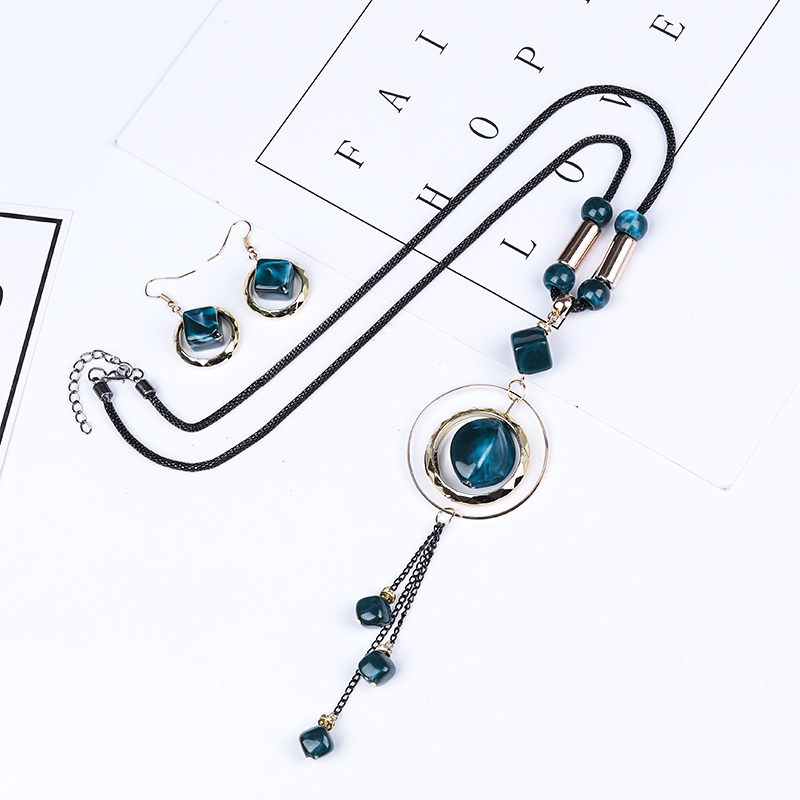Crazy Feng Luxury AcrylicWedding Jewelry Sets For Women Red Blue Long Round Tassel Pendant Necklace Drop