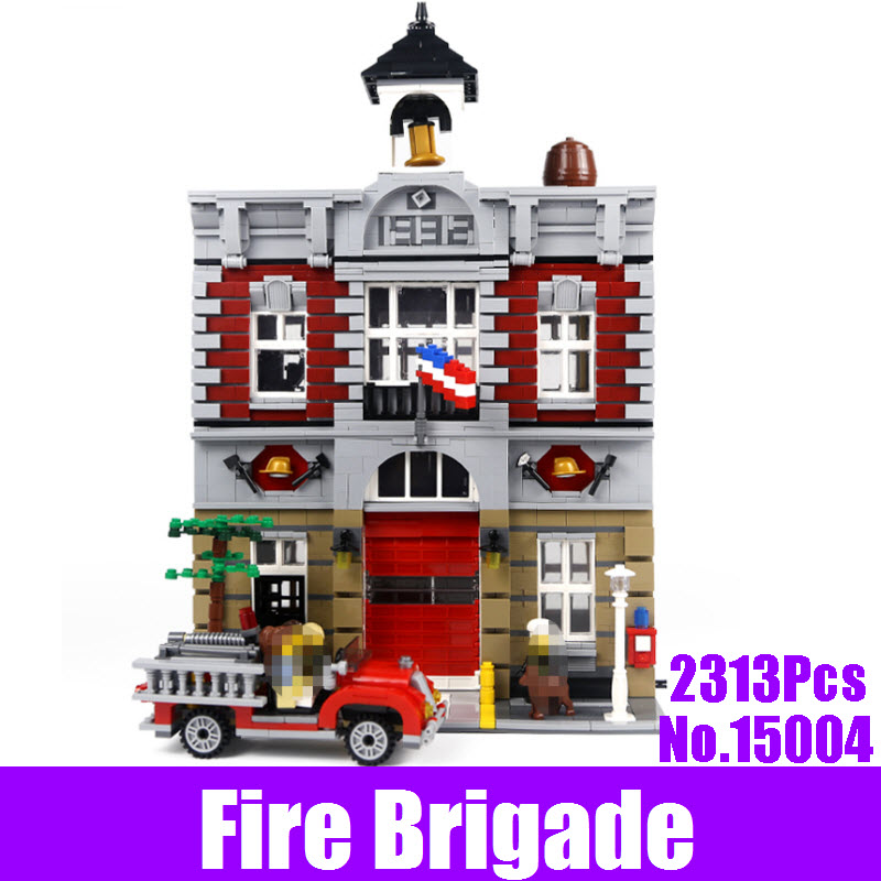 New 2313Pcs City Street Fire Brigade LEPIN 15004 Set Model Building Kits Blocks Brick Compatible 10197 Kids Educational Gift Toy lepin 15004 2313pcs city creator series fire brigade model building blocks bricks toys for children gift compatible 10197