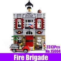 New 2313Pcs City Street Fire Brigade LEPIN 15004 Set Model Building Kits Blocks Brick Compatible 10197