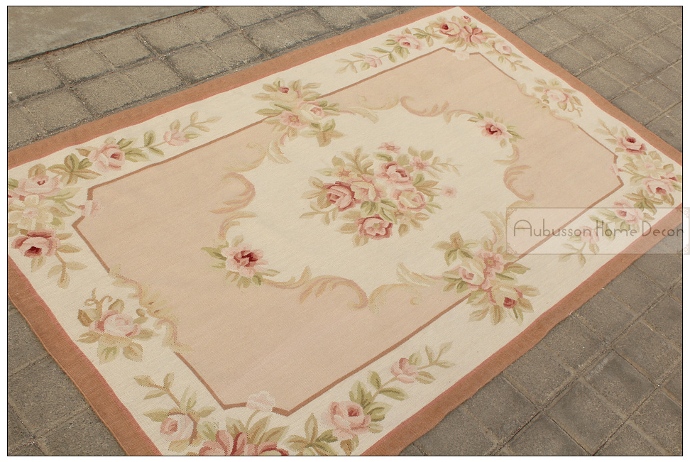 339x539 Wool Hand Woven Shabby Chic French Style Aubusson