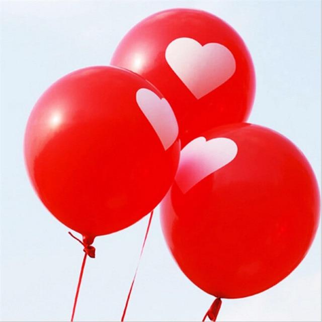 100pcs/lot 2.8g 14 inch White Love Heart Pearl Latex Balloon Air Toy Balls Inflatable Balloon Wedding Birthday Decoration