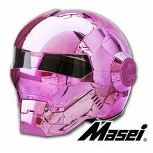 НОВЫЙ Грандиозность Розовый покрытие MASEI 610 IRONMAN Железный Человек шлем мотоциклетный шлем половина открытый шлем ABS шлем мотокросс