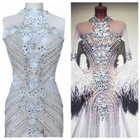 Pure hand made sew on silver Rhinestones applique on white mesh crystals trim patches 95*46cm wedding dress accessory