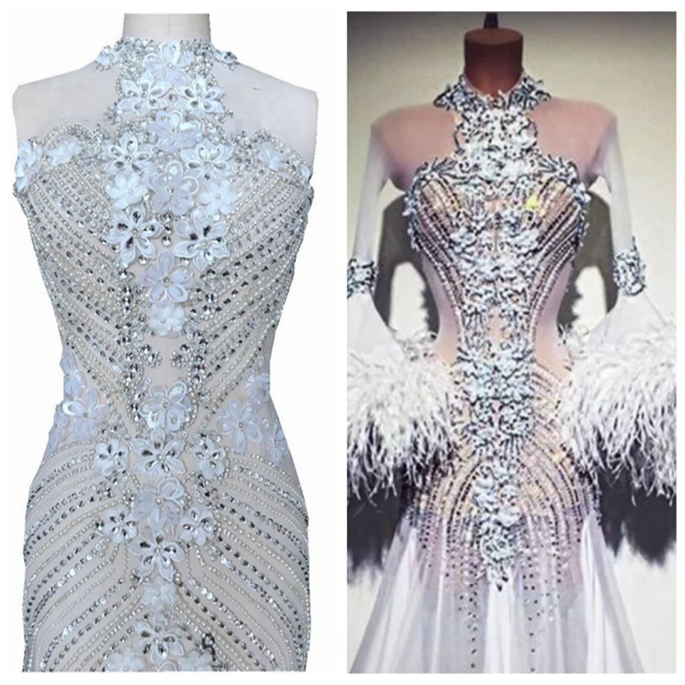Ev ve Bahçe'ten Yapay Elmas'de Saf el yapımı dikmek gümüş Rhinestones aplike beyaz mesh kristalleri trim yamalar 95*46 cm düğün elbisesi aksesuar'da  Grup 1