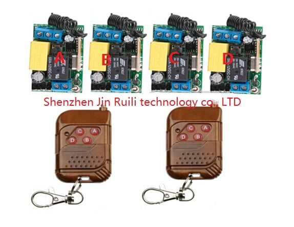 цена на Wireless remote control switch RF AC 220 V 10 A 1 channel 2 Transmitter and 4 Receiver Learning code Simple operation