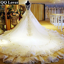 QQ Lover 2018 New Arrival Top Luxury Crystals Beaded Cap Sleeves Big Train Lace Wedding Dress Bridal Gown Vestido De Noiva