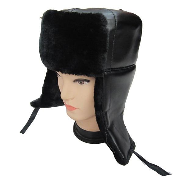 PU Leather Trapper Russian Bomber Cossack Ushanka Fur Winter Ski Hat Ladies  Men Earflap Cap Black SSH-6525 6b42fcab20d