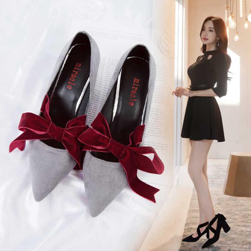 velvet bow-knot pumps cross-tied 7.5cm thick square heel shoes wedding shoes 0e3019d8f672