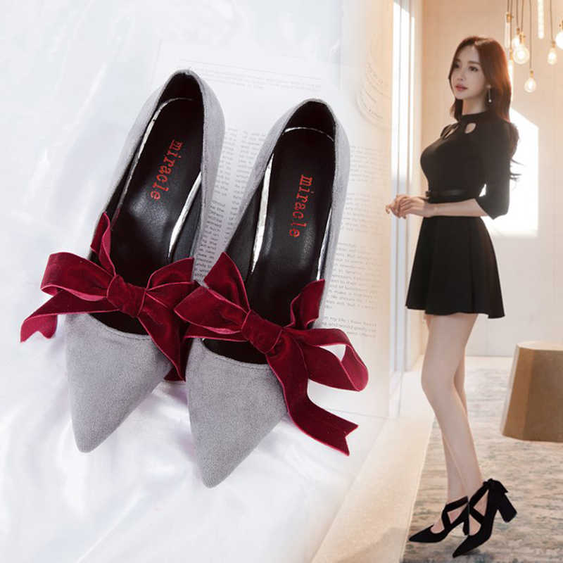 8d123db58087 velvet bow-knot pumps cross-tied 7.5cm thick square heel shoes wedding shoes