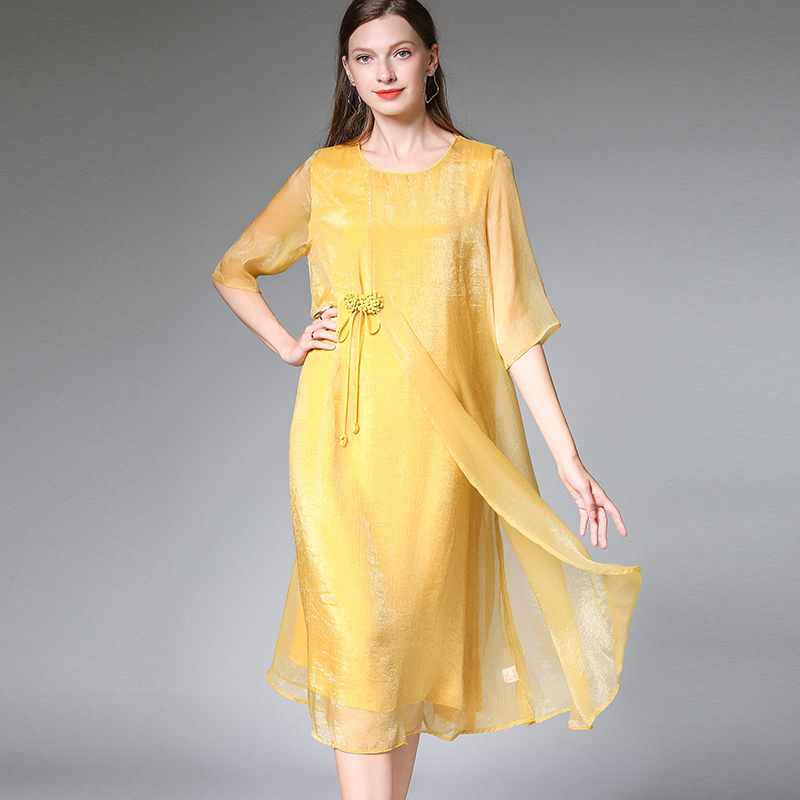 2019Summer women elegant faux silk chiffon dress Plus Size half sleeve loose midi dress female asymmetrical