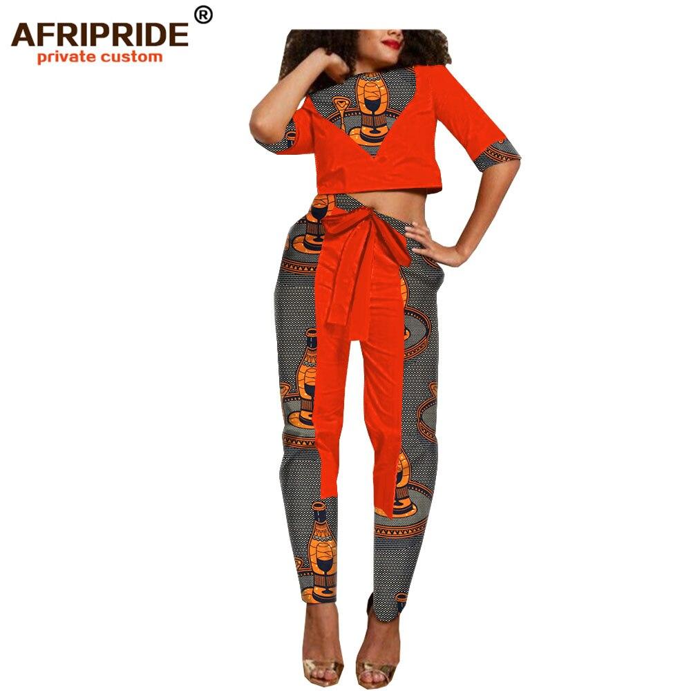 Kadın Giyim'ten Kadın Setleri'de 2019 afrika dashiki balmumu bahar pantolon seti kadınlar için AFRIPRIDE yarım kollu kısa üst + ayak bileği uzunluk pantolon rahat kadın seti A1826030'da  Grup 1