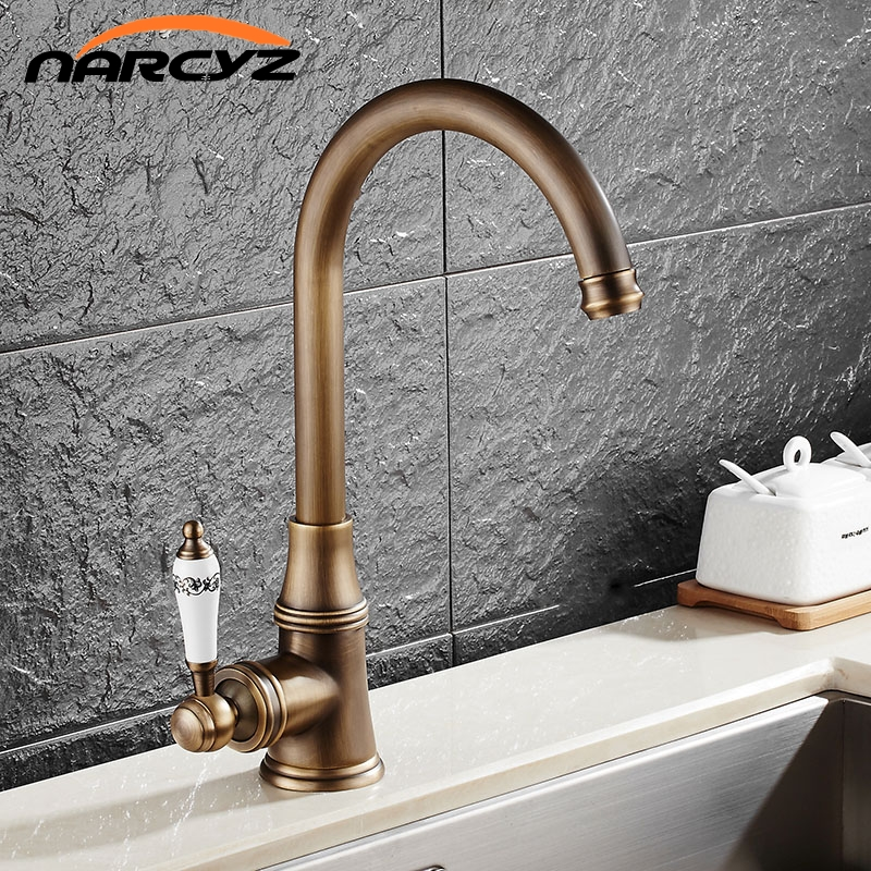Classic European antique single handle single hole hot and cold water kitchen faucet can be rotating faucet XT918 micoe brass faucet single handle single hole kitchen faucet double nozzle water mixer chrome hot and cold water rotating faucet