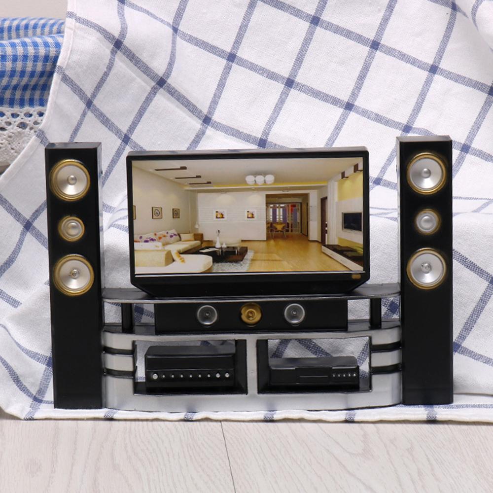 Miniature TV Speaker Appliance Set Kids Pretend Play Toy Dollhouse Accessory Plastic Wood Furniture Set For Dolls