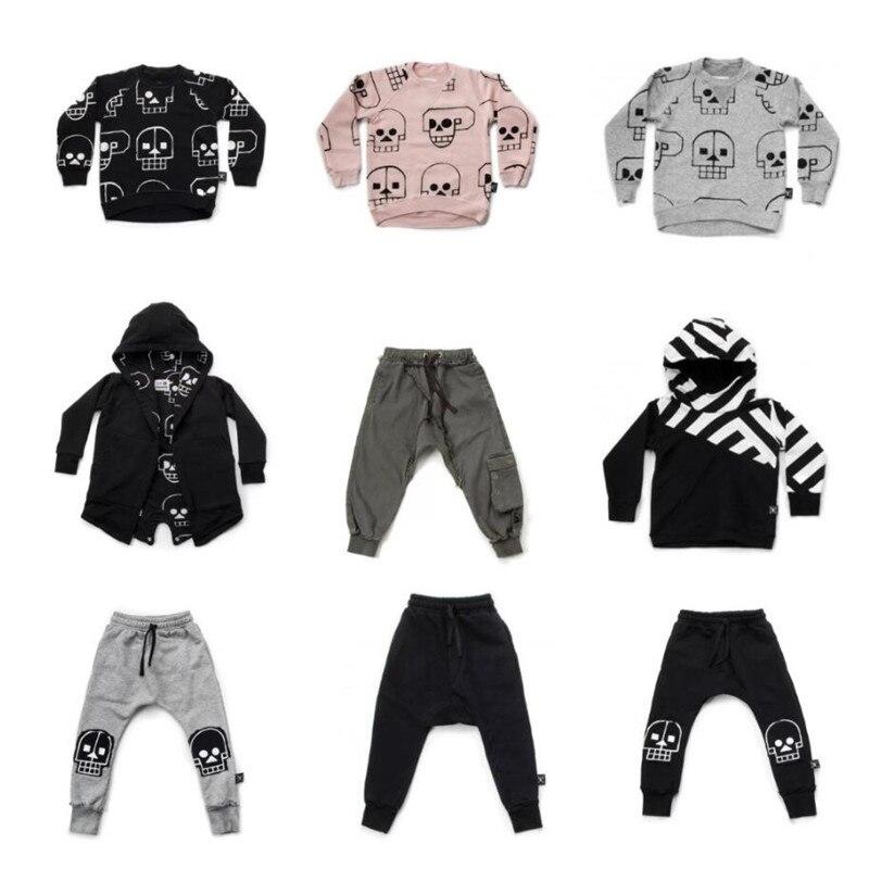 Nununu 2018 Neue Jungen Kleidung Schädel Roboter Muster T-shirts Hosen Herbst Winter Baby Mädchen Tops Tees Mäntel Kinder Kleidung Set