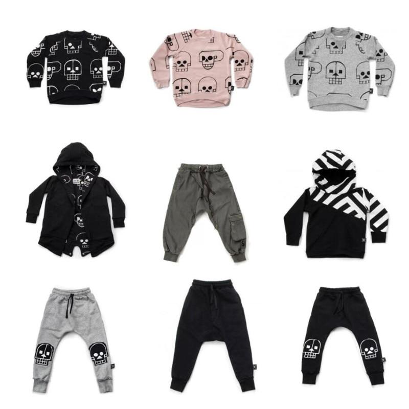 Nununu 2018 Nouveaux Garçons Vêtements Crâne Robot Motif T-shirts Pantalon Automne Hiver Bébé Filles Tops T-shirts Manteaux Enfants Vêtements Ensemble