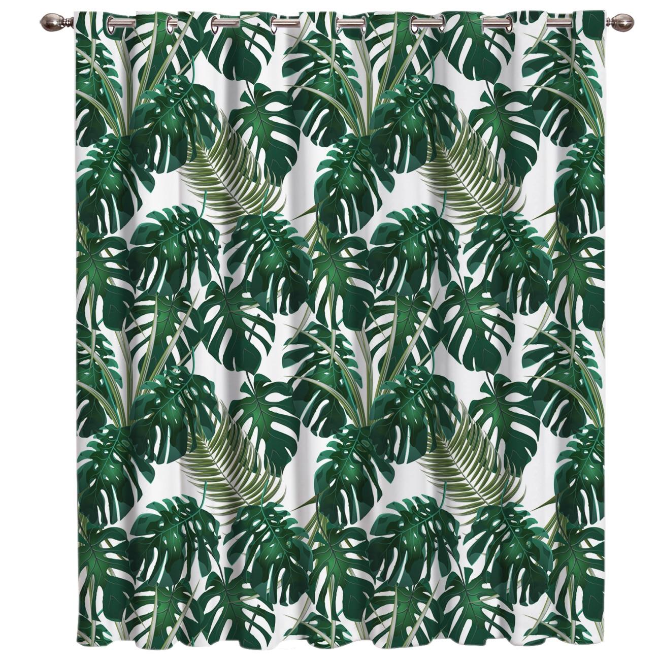 Nordic Windy Tropical Banana Leaves Window Treatments Curtains Valance Living Room Decor Bathroom Outdoor Fabric Curtain