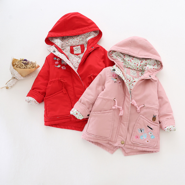 31189066 Retail 2016 Winter Baby Girl Jacket Hooded Butterfly Pocket Toddler Girl Coat  Worm Kids Outerwear Lolita