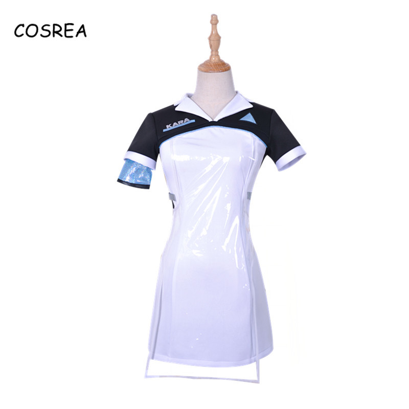 Detroit Become Human Vintage Short Sleeve Ladies Dresses Tight Uniform Cosplay Costumes Halloween