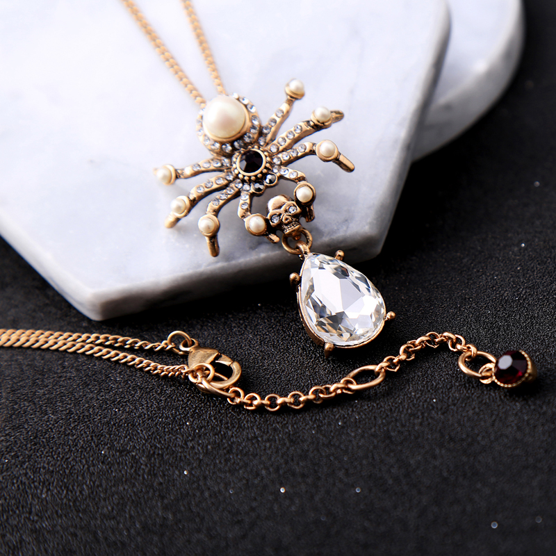 Mossovy Retro Rhinestone Imitation Pearl Spider Pendant Necklace for Female Crystal Water Drop Insect Necklace for Women Jewelry