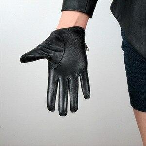 Image 4 - 2020 Latest Genuine Leather Gloves Female Short Sheepskin Gloves Fashion Simple Zipper Decoration Womans Leather Gloves NS23