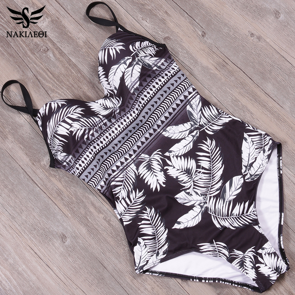 NAKIAEOI 2018 New Sexy One Piece Swimsuit Plus Size Print Floral Swimwear Women Bathing Suits Swimwear Monokini Swimsuit L~4XL
