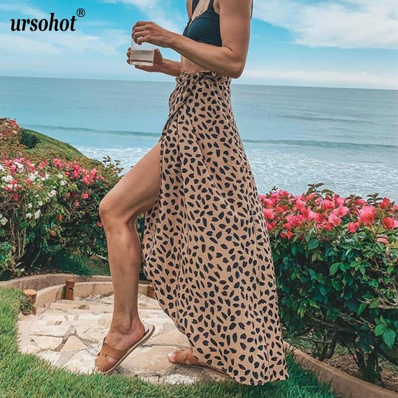 Ursohot Sexy High Split Wrap Boho Maxi Skirts Women 2019 Summer High Waist Asymmetric Long Skirt Floral Print Beach Skirt Female