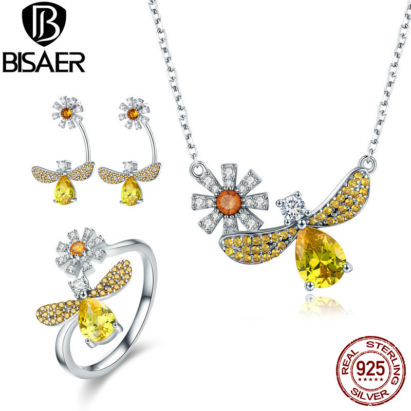 BISAER 925 Sterling Silver Dragonfly Daisy Flower Jewelry Sets For Women Rings & Earrings Jewelry Set Fashion Silver 925 Jewelry