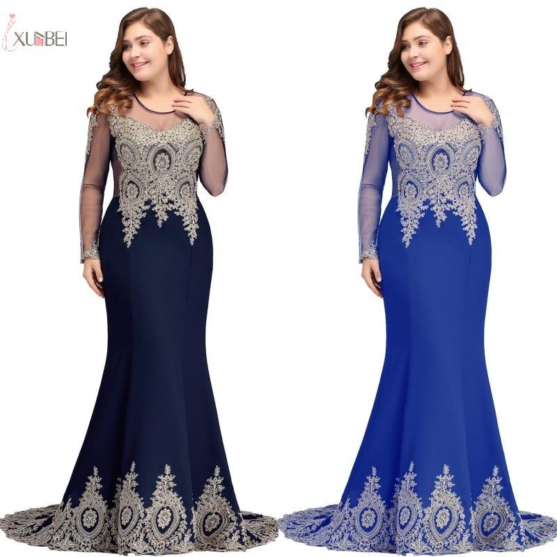 2019 Burgundy Navy Blue Royal Blue Purple Long   Bridesmaid     Dresses   Mermaid Plus Size Beading Long Sleeve Wedding Party   Dress