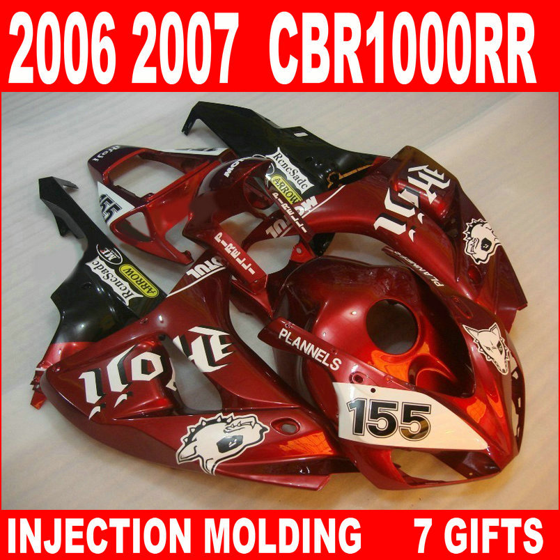 New hot moto parts fairing kit for Honda CBR1000RR 06 07 wine red white injection mold fairings set CBR1000RR 2006 2007 RA20