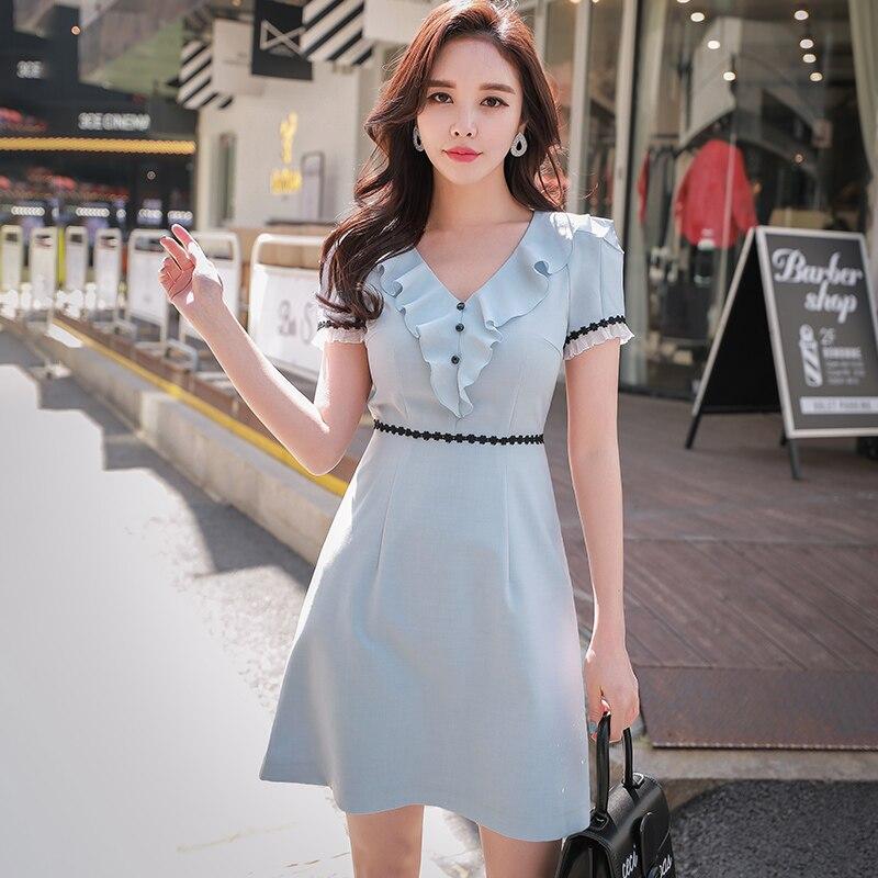 7adb8b3572b3 Dabuwawa OL Style elegant Temperament Ruffles V-Neck Waistline Summer Dress  2018
